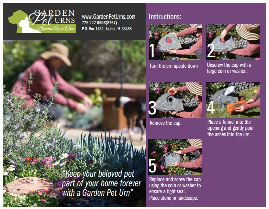 Garden Pet Urns Instruction Guide On How To Fill Pet Urn